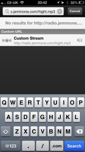 "In Favourites, select ""Custom Stream"""