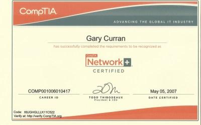 CompTIA Network+ Technician 2007 Certificate
