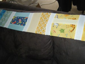 Row of blocks sewn together with sashing