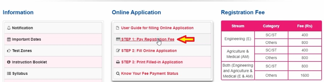Step – 1: Apply for Online and Registration Fee Payment