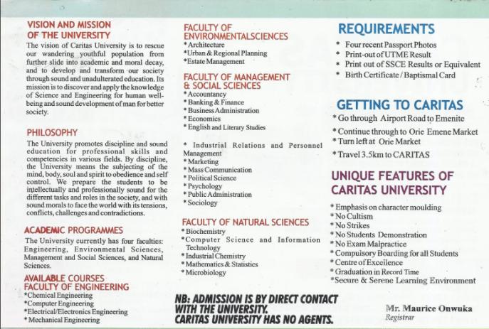 Caritas University Admission2