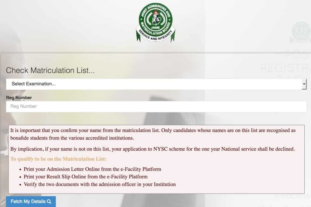 About JAMB Matriculation List