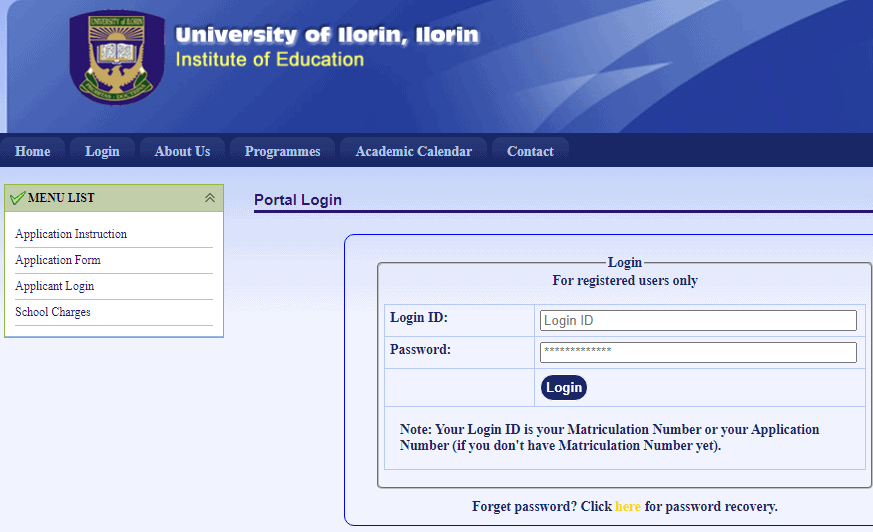 UNILORIN IOE Portal 2021