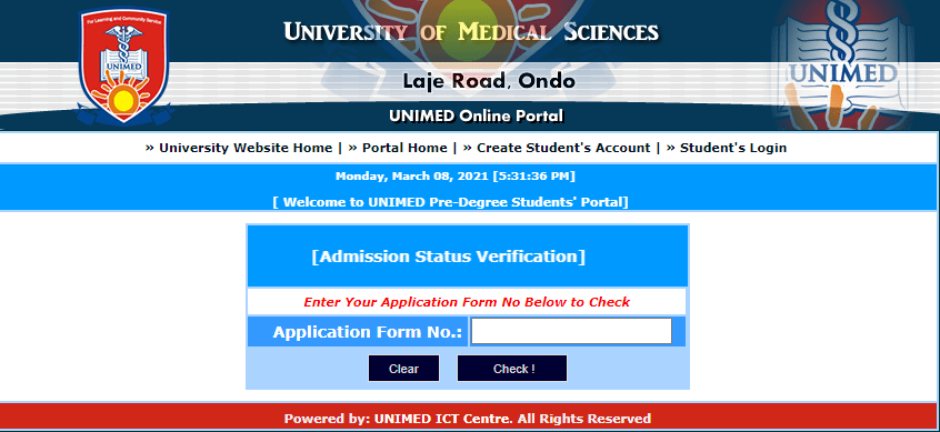 UNIMED Admission List 2020