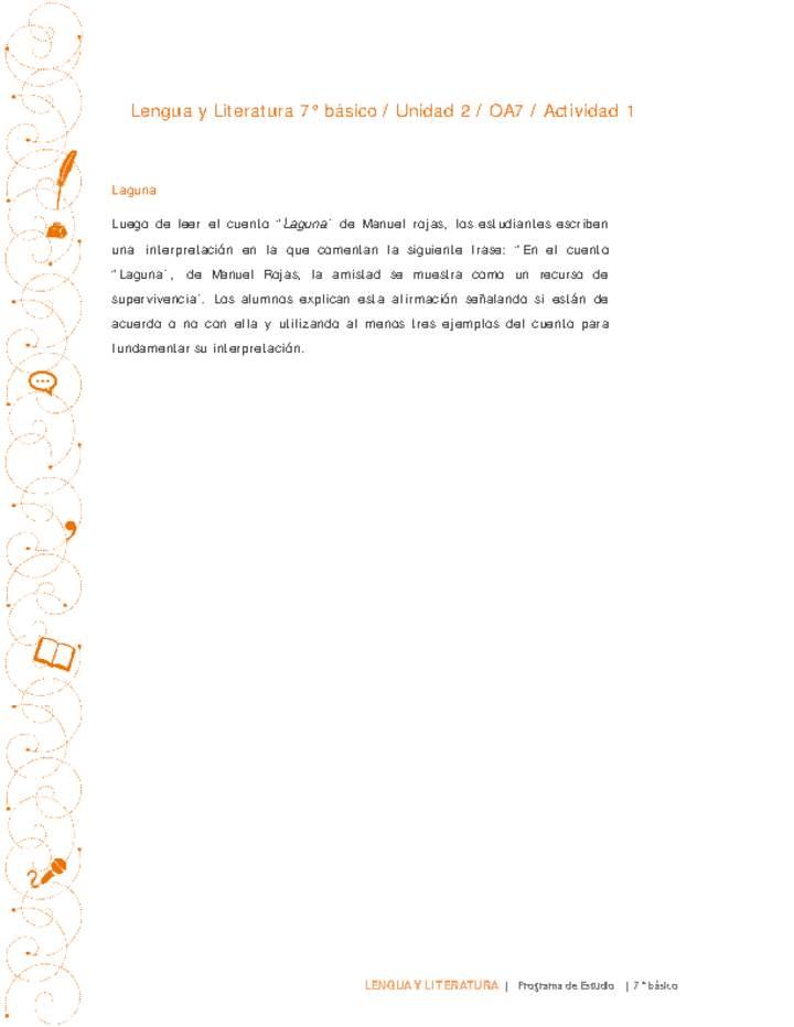 Lengua y Literatura 7° básico-Unidad 2-OA7-Actividad 1