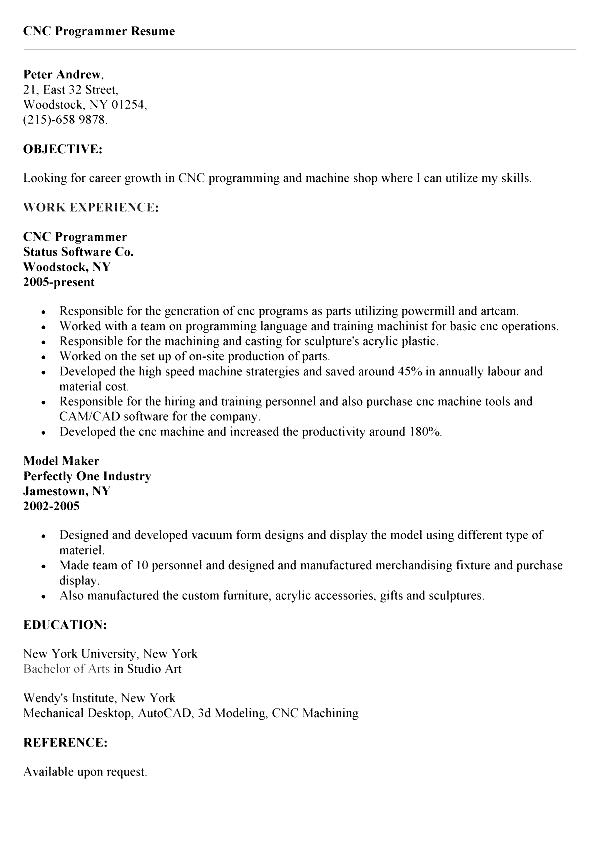CNC Programmer Resume Free Samples Examples & Format