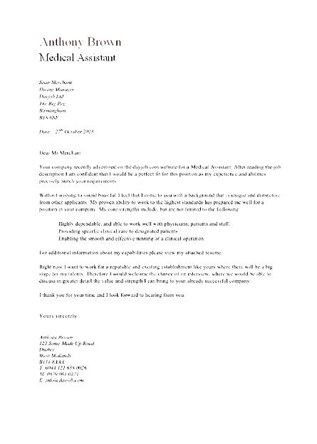 Certified Medical Assistant Cover Letter Download  Free Samples  Examples  Format Resume