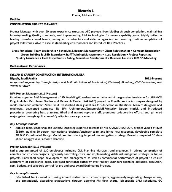 Construction Resume Sample PDF  Free Samples  Examples