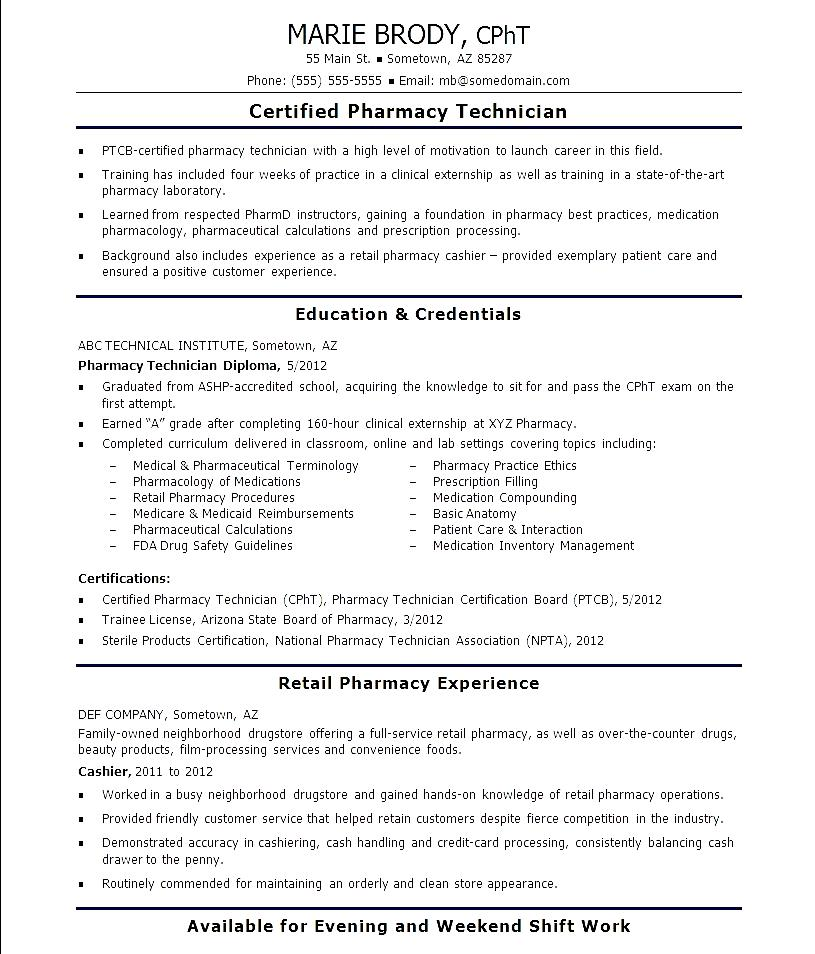 Entry Level Pharmacy Technician Resume | Template