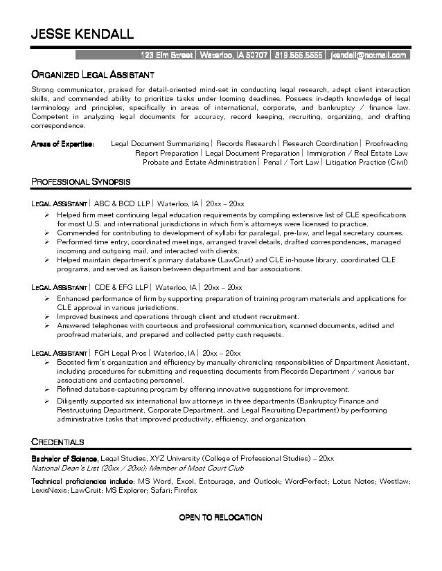 immigration services assistant sample resume