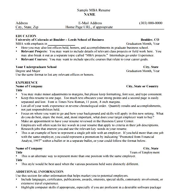 MBA Resume Template Download Free Samples Examples