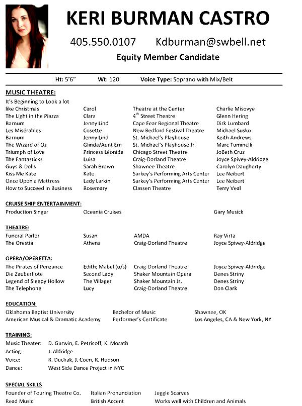 sample musical theatre resume musical theatre resume template