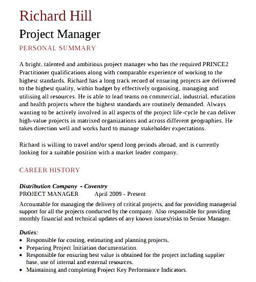 Project Manager CV Template Download  Free Samples
