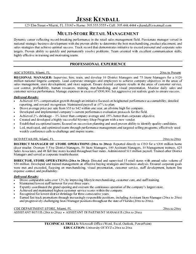 Free Resume Samples For Retail Managers Sample Customer