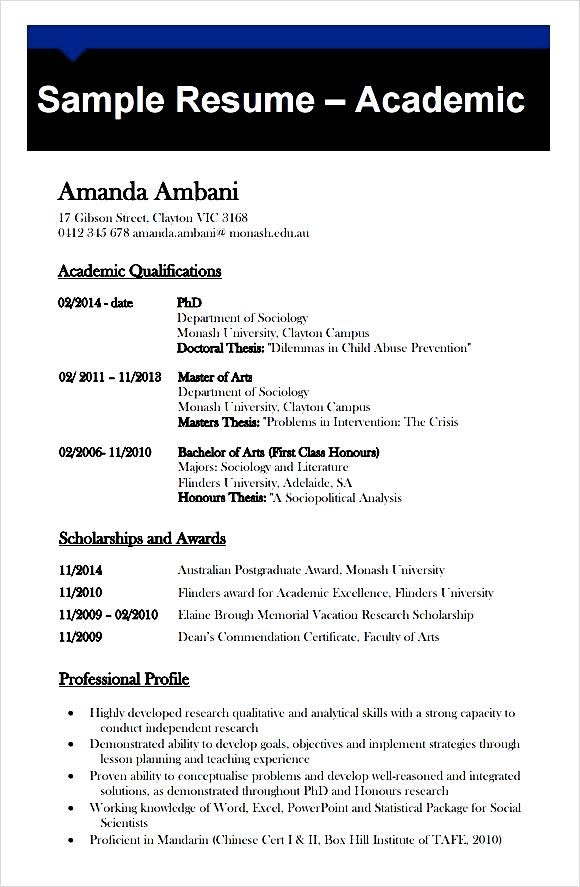 Sample Academic CV Template Free Free Samples Examples