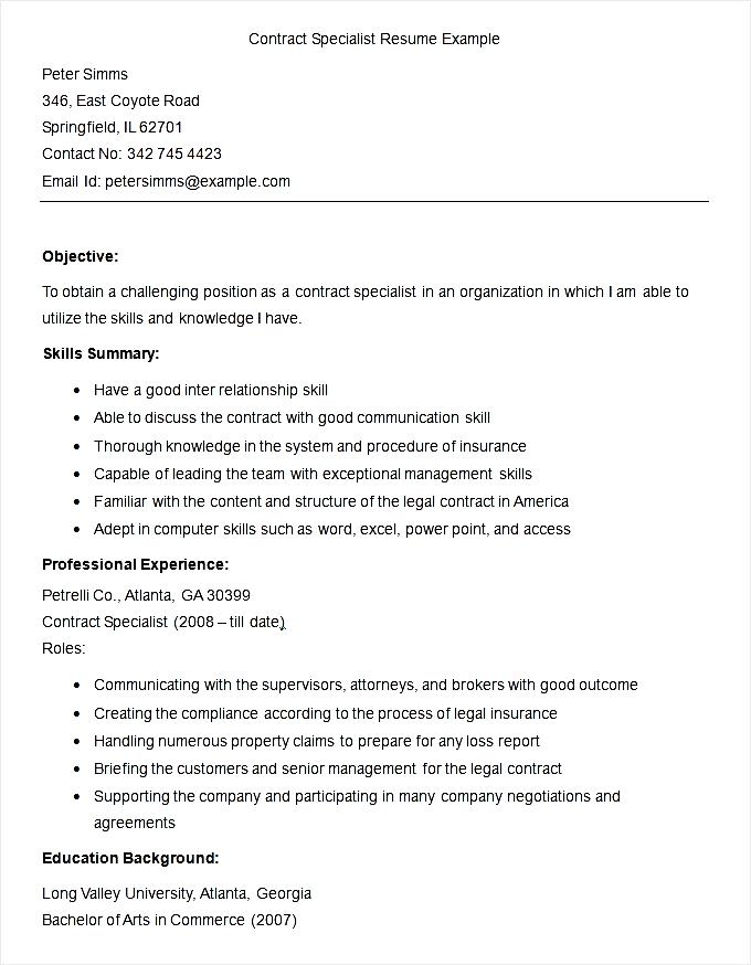 Sample Contract Specialist Resume Template Free Samples