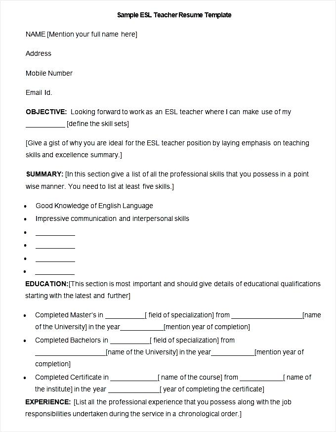 esl sample resume