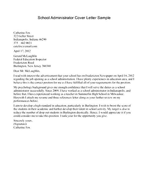 School Receptionist Cover Letter Free Samples Examples