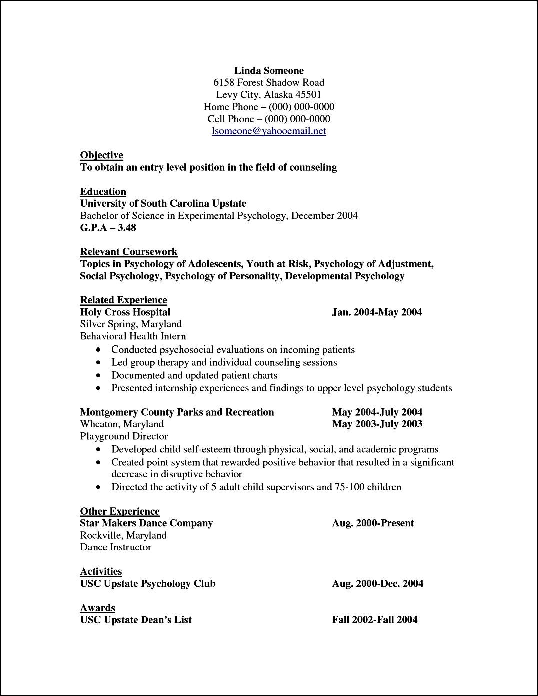 Curriculum Vitae Template For Psychologist  Free Samples  Examples  Format Resume