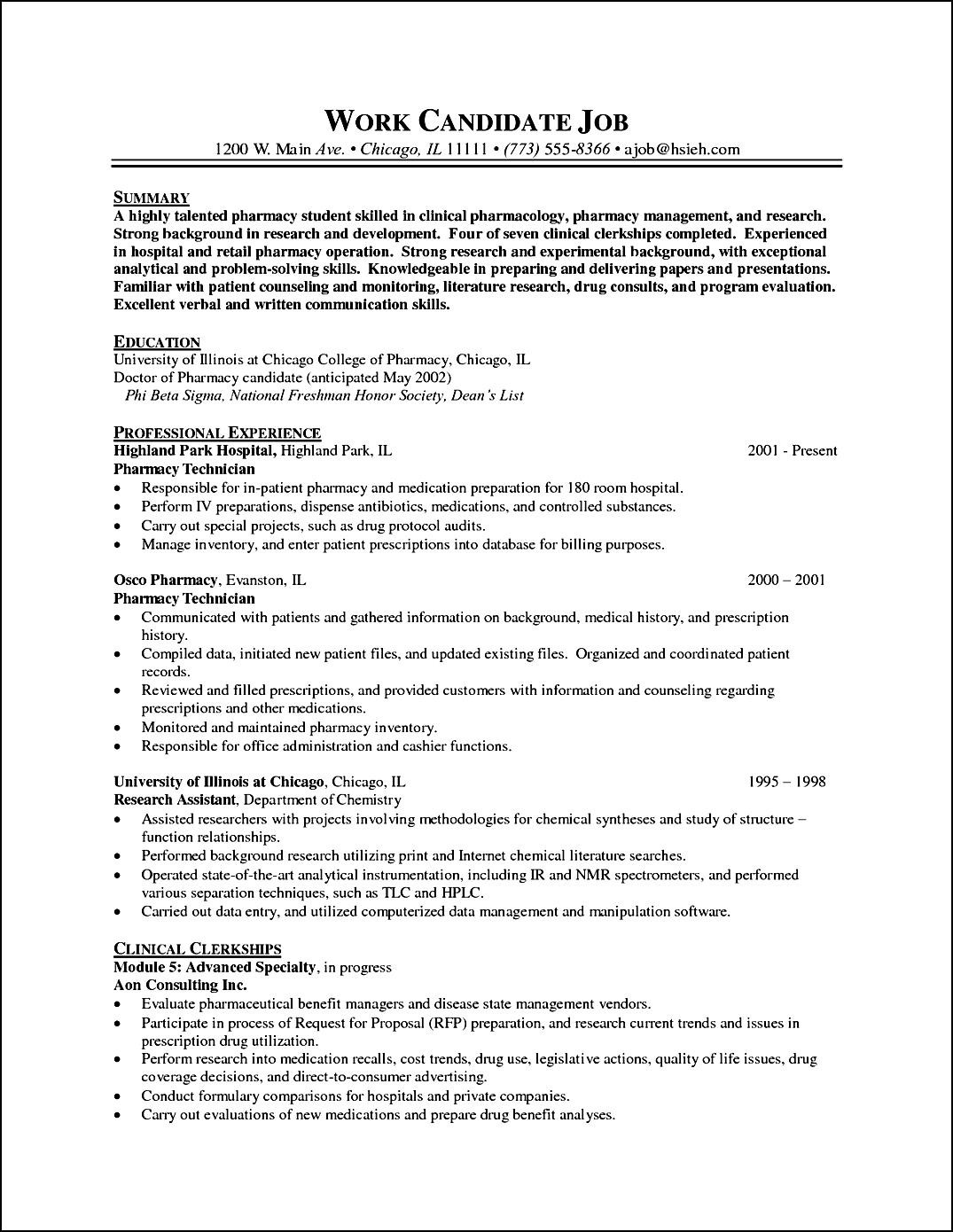Pharmacy Curriculum Vitae Example Free Samples