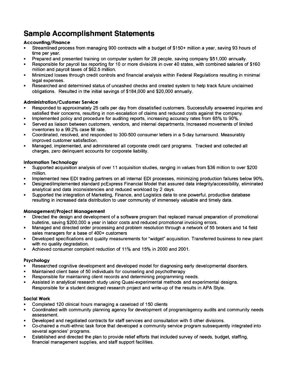 Achievements Resume Example - Examples of Resumes