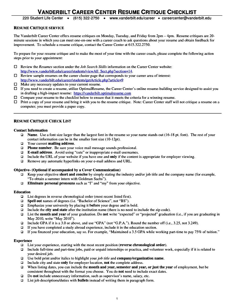 Academic-Resume-Template-For-Grad- Vanderbilt Curriculum Vitae on