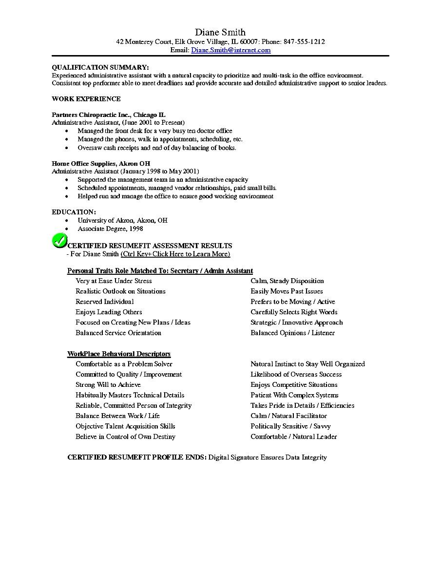 sample resume objective statements administrative