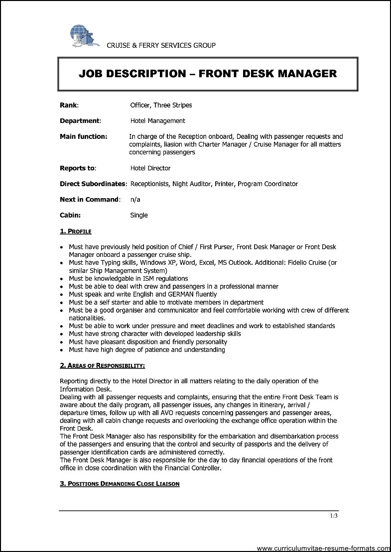 Resume for hotel front desk