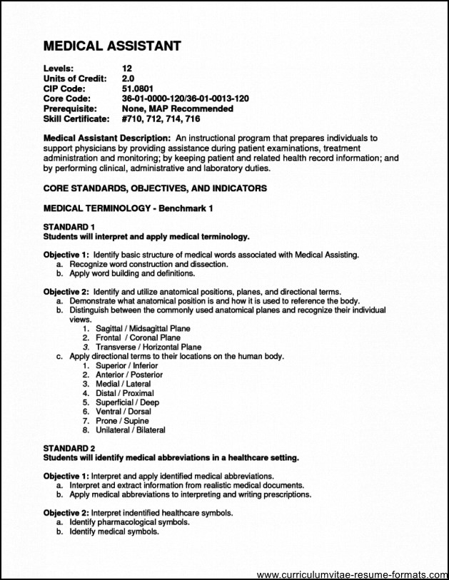 Medical Office Istant Resume Objective Free Samples  Medical Assistant Resume Objectives