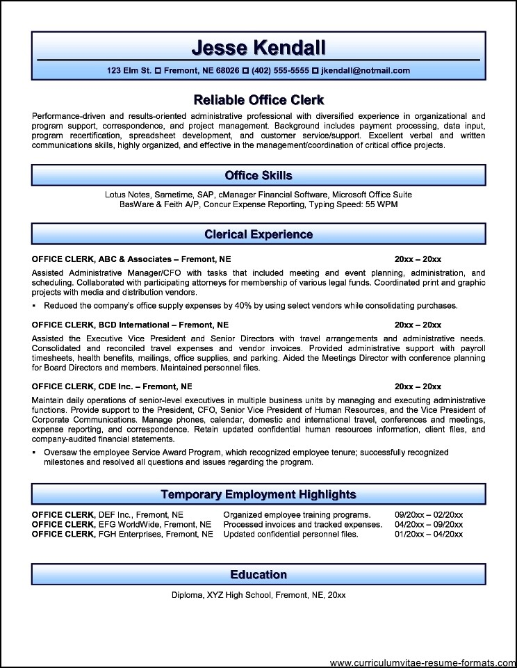 Office Clerk Resume Examples