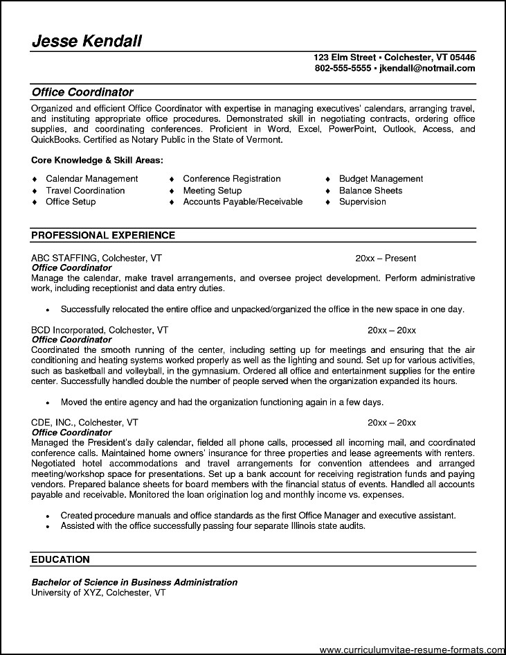 Office Coordinator Resume Summary Free Samples