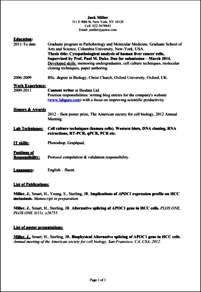 Professional Academic Resume  Free Samples  Examples