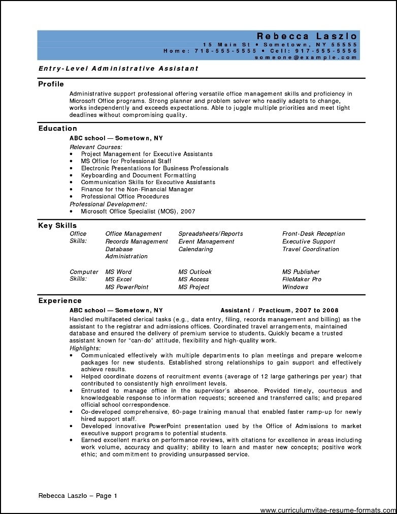 Resume For Office Assistant Position Free Samples
