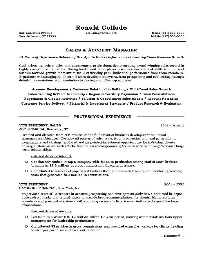 Resume Objective Examples For Sales Examples of Resumes