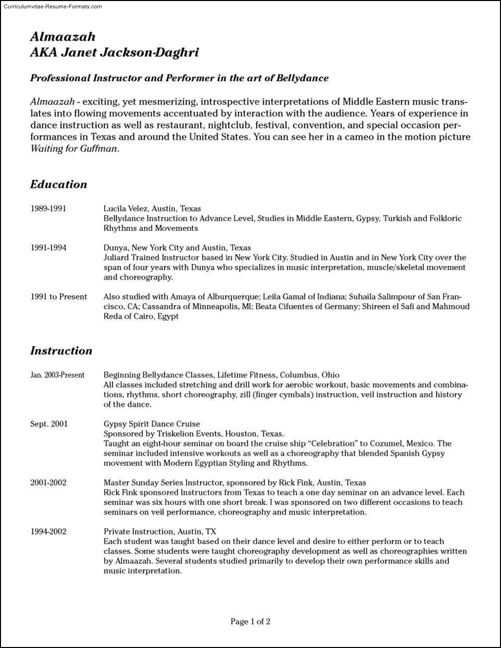Audition Resume Template  Free Samples  Examples  Format Resume  Curruculum Vitae