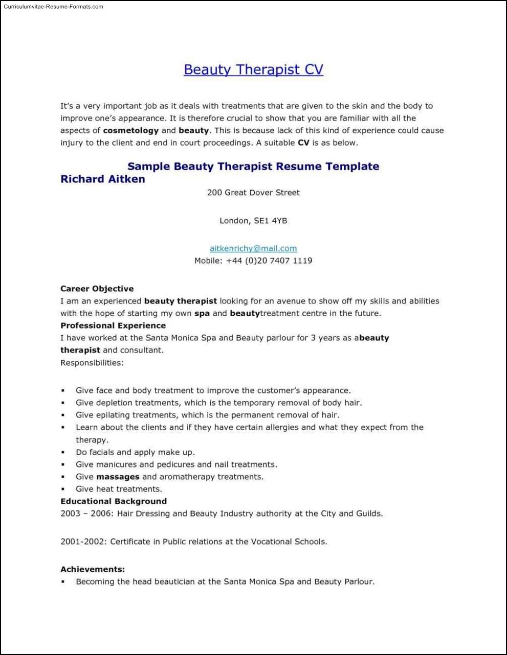 Resume For Beautician   Resume Sample