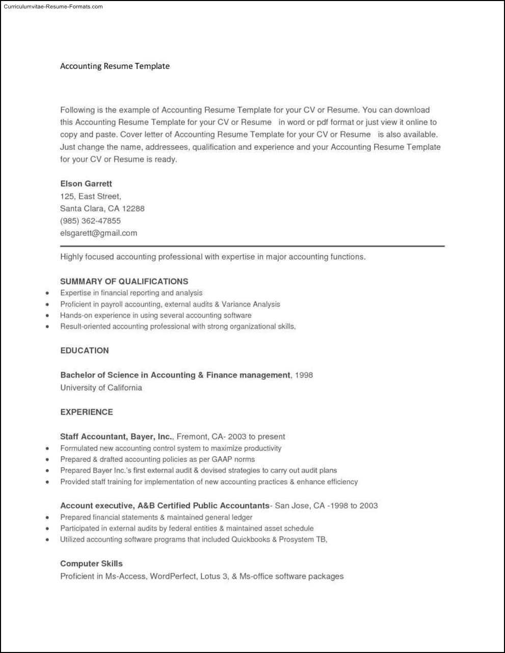 Copy And Paste Resume Templates  Free Samples  Examples