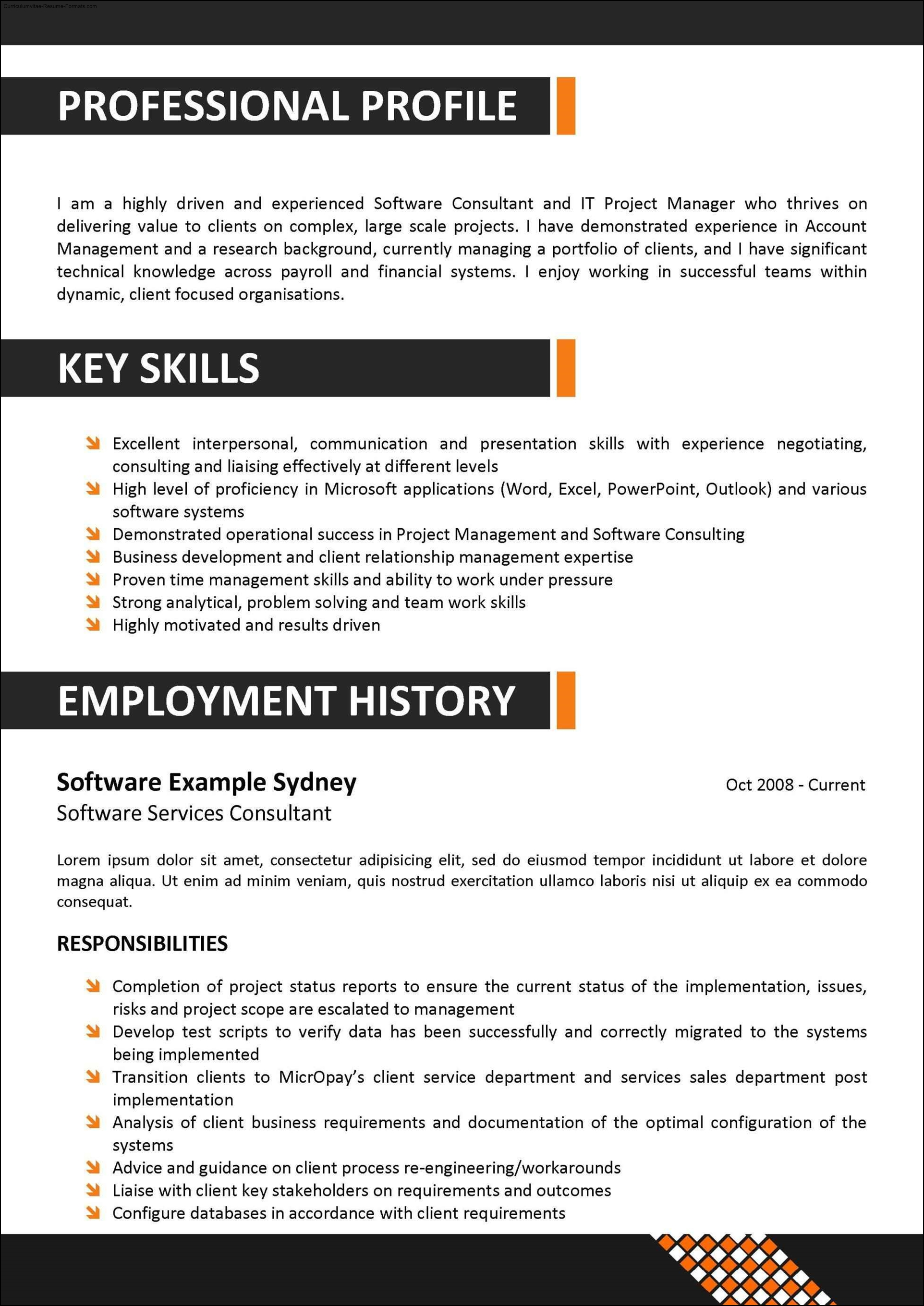 Corporate Resume Template Free Samples Examples