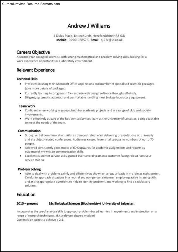resume formats for job