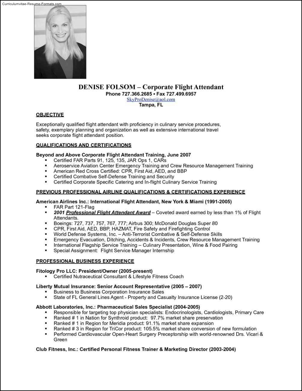 resume summary samples flight attendant