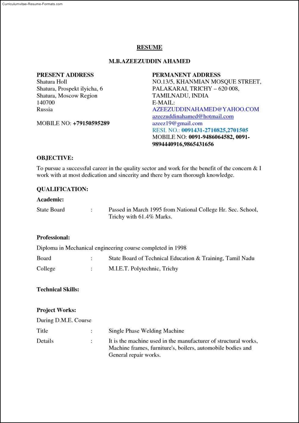 Gmail Resume Templates Free Samples Examples & Format