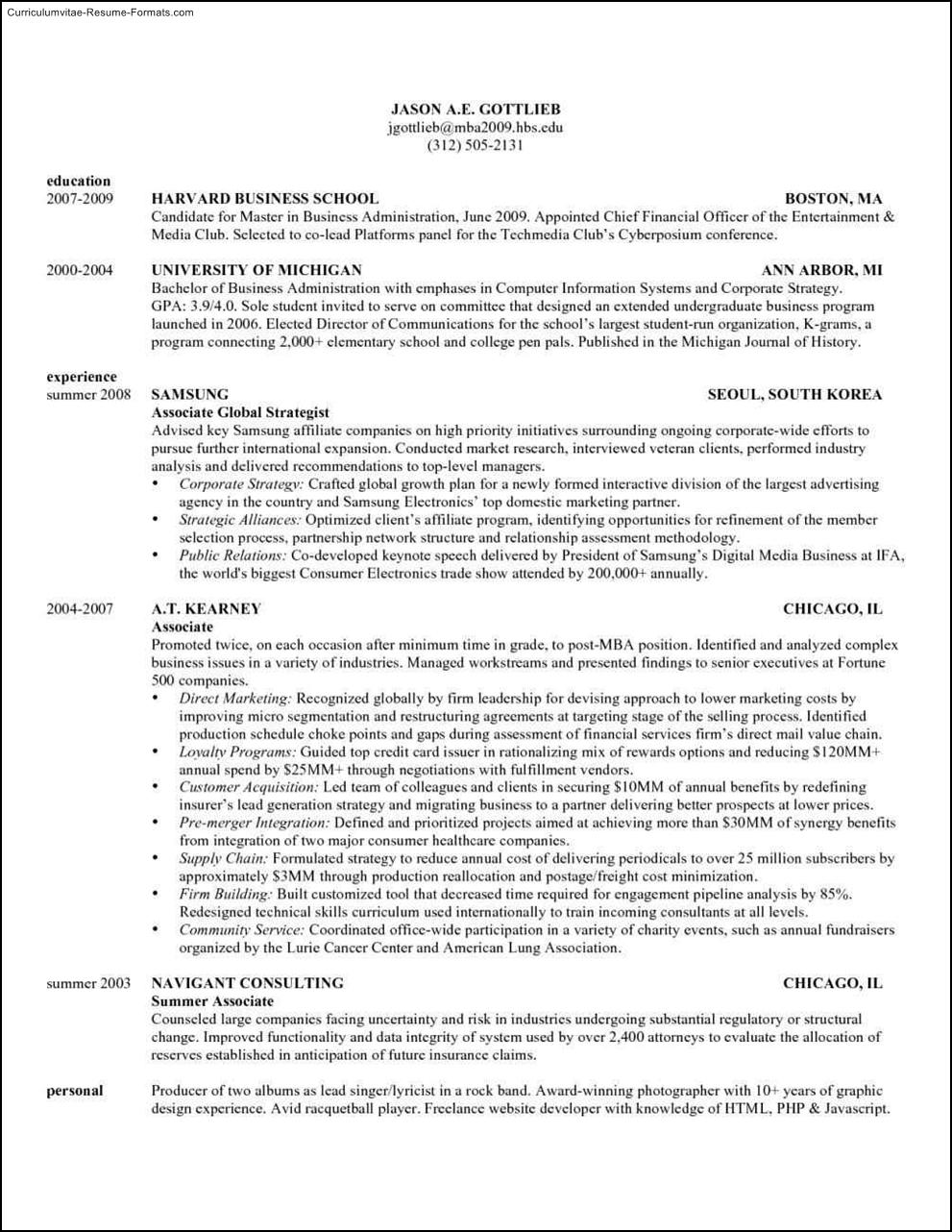 harvard format resume template