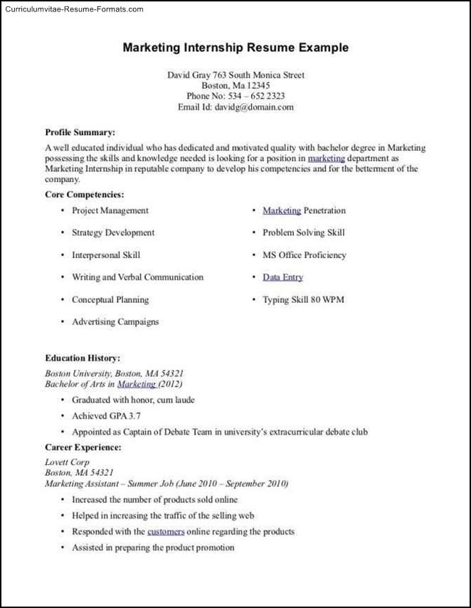 internship resume template microsoft word