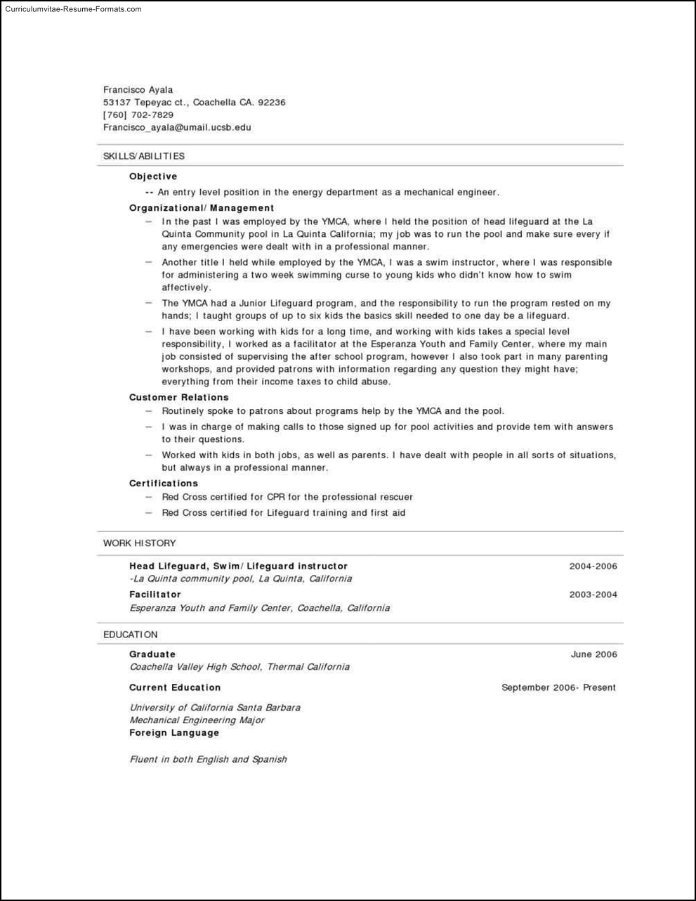 Lifeguard Resume Template  Free Samples  Examples  Format Resume  Curruculum Vitae  Free