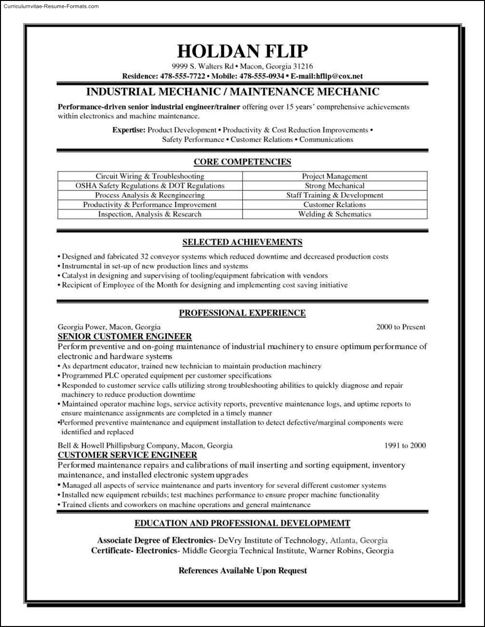 Maintenance Resume Templates  Free Samples  Examples