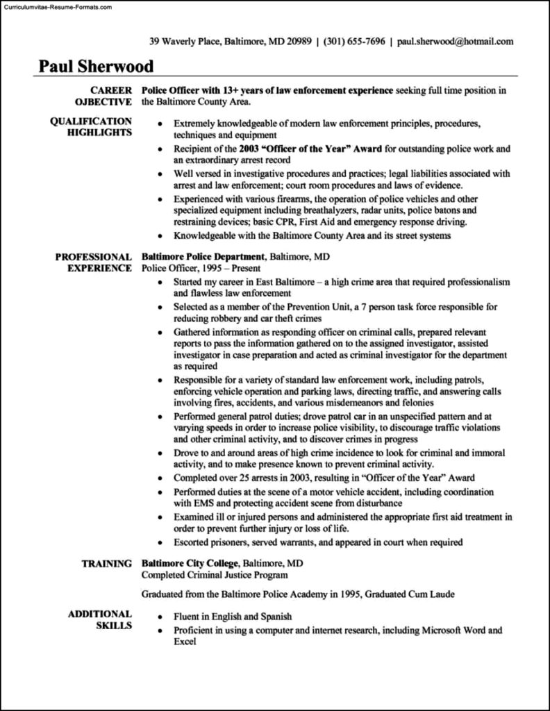 Police Officer Resume Template  Free Samples  Examples