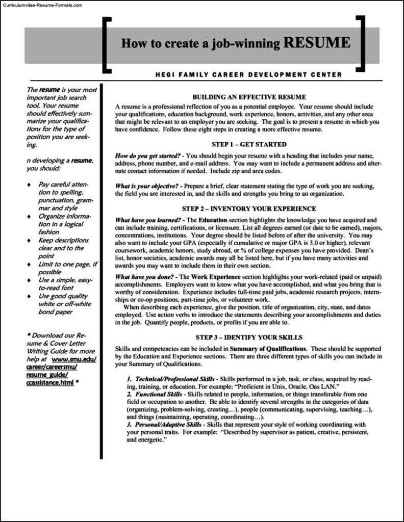 Winning Resume Template  Free Samples  Examples  Format