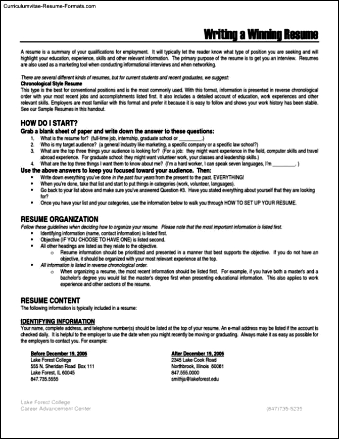 Winning Resumes Templates  Free Samples  Examples