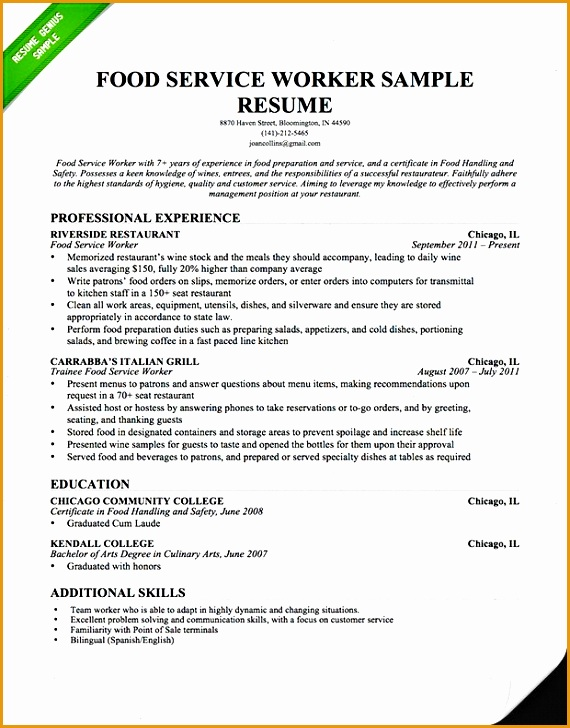 waiter resume sample doc