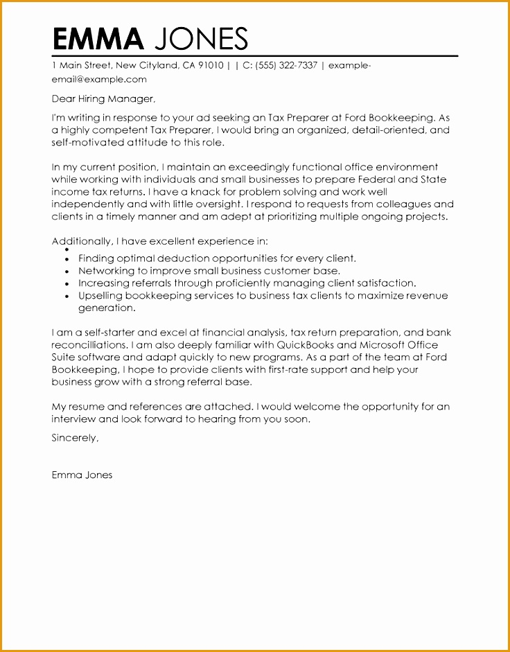 resume cover letter examples bookkeeper
